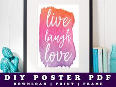 Live Laugh Love Watercolour Printable Poster by Prandski on Etsy