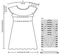 """Robe DROPS, empiècement arrondi avec motif ajouré, en """"Muskat"""" ou """"Belle"""". Du S au XXXL. ~ DROPS Design"""