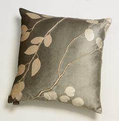 Eucalyptus on Smolder: Aviva Stanoff: Etched Velvet Pillow - Artful Home