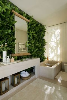 4 Keen Tips AND Tricks: Natural Home Decor Rustic Plants natural home decor rustic powder rooms.Natural Home Decor Modern Coffee Tables natural home decor ideas layout.Natural Home Decor House. Jungle Bathroom, Bathroom Spa, Bathroom Wall Decor, Modern Bathroom, Bathroom Ideas, Garden Bathroom, Plants In Bathroom, Earthy Bathroom, Nature Bathroom