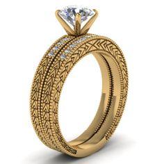 Round Cut Diamond Engagement Rings With White Diamond In 18K Yellow Gold | Triangular Pattern Set | Fascinating Diamonds