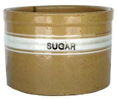 yellow ware sugar crock - i am looking for one of these, with a wooden lid as well as a flour crock, also with a wooden lid!! ;) on a mission!