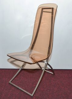 Edmond Vernassa; Chromed Steel and Smoked Plexiglass Chair, 1972.