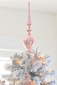 Vintage tree topper! Blush pink and white flocked vintage inspired Christmas tree by Kara's Party Ideas | Kara Allen for Michaels