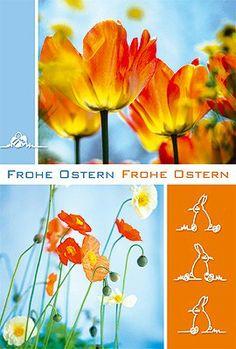 #Osterkarte #Tulpen #Hasen. Druck auf glattem Karton mit passendem Kuvert in naturweiß.