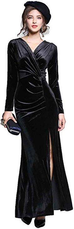 68d206cb4e917 Amazon.com: Ababalaya Women's 90s Retro Velvet Long Bodycon Side Slit Formal  Evening Gown