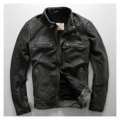 avirex fly pattern genuine leather jacket men harley style black... ❤ liked on Polyvore featuring men's fashion, men's clothing, men's outerwear, men's coats, mens motorcycle jacket, mens leather coats, mens slim fit outerwear and mens rider jacket