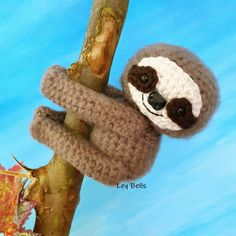 Amigurumi Mini Sloth Height : 7 cm Free cute bag for every purchase. Pattern by Ley Bells. CP : bb : 7EFC8374 ...