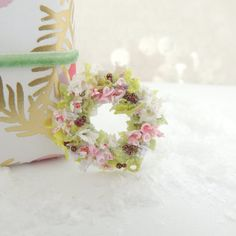 Wee Little Christmas door wreath cottage by WeeOnesBySherry Christmas Door Wreaths, Little Christmas, All Things, Cottage, Clay, Handmade, Stuff To Buy, Hand Made, Cottages