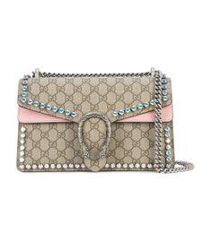 Gucci Dionysus GG Supreme Crystals Shoulder Bag - Pink Canvas Bag Gucci  Pink Dionysus GG Supreme 6986461536