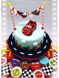 """""""Cars"""" themed cake featuring a sugar art figurine of Lightning McQueen with hand painted details for a little boy Ayden's birthday bash. Special thanks to Lesley of Royal Bakery for her half Lightning McQueen tutorial which helped me to get. Disney Cars Cake, Disney Cars Birthday, Disney Cakes, 2nd Birthday, Birthday Ideas, Fondant Cakes, Cupcake Cakes, Fondant Bow, Car Cakes"""