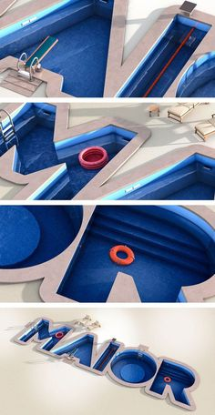 Big swimming pool by Daniel Alves (via Creattica) Big Swimming Pools, Swimming Pool Designs, 3d Design, Design Model, 3d Cinema, Funky Fonts, 3d Type, Logo Type, Visual Aesthetics