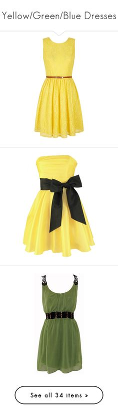 """Yellow/Green/Blue Dresses"" by drskullz on Polyvore featuring dresses, vestidos, short dresses, yellow, clearance, sleeveless wrap dress, short yellow dress, lace mini dress, yellow skater dress and short wrap dress"