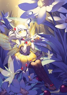 ✮ ANIME ART ✮ fairy. . .fae. . .wings. . .silver hair. . .twin tails. . .flowers. . .dress. . .butterflies. . .water droplets. . .glowing. . .sparkling. . .magical. . .fantasy. . .cute. . .kawaii