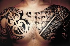 Tribal chest tattoos #TattooModels #tattoo