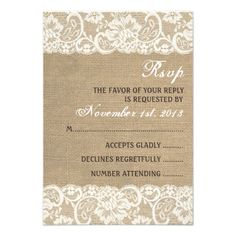 Lace Look Rustic WARM Burlap Wedding RSVP Card