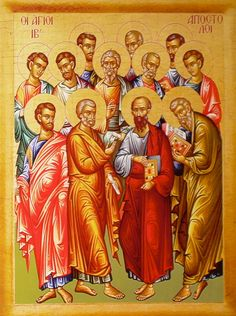 How to recognize the Holy Apostles in icons - http://iconreader.wordpress.com/2010/08/17/how-to-recognize-the-holy-apostles-in-icons/