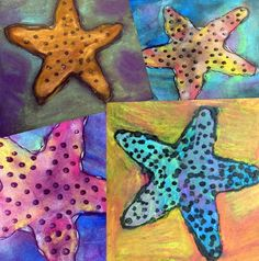 The Starfish – Painted Paper Art chalk with puffy paint – mindy Starfish Painting, Starfish Art, Neon Painting, Chalk Painting, Spring Crafts For Kids, Art For Kids, Kid Art, Paper Plate Crafts, Paper Plates