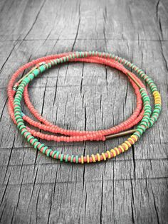 Neon Coral and Mint Necklace Long Layering Single Strand