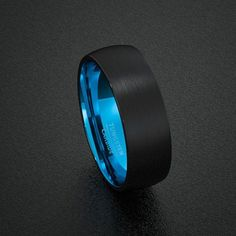 Mens Wedding Band Tungsten Ring Two Tone 8mm Black Brushed Dome Blue Inner Comfort Fit