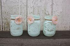 Trio of Super Sweet Shabby Chic Mason Jar Vases - Painted Mason Jars with Fabric Flowers - Aqua Decor.