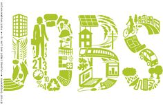 Post Typography - green jobs lettering illustration us green building council sustainability environment