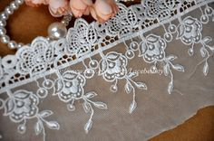 Cotton Tulle Lace Trims Flower Embroideried Lace 5.1 by Lacebeauty, $5.99