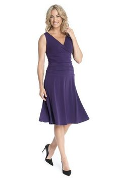 cool Women's Slimming Sleeveless Fit-and-Flare Crossover Tummy Control Dress