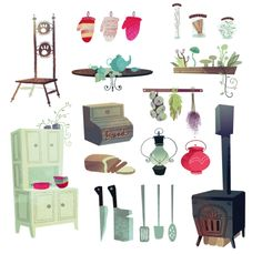 Franz, the prince of tooth fairies, and some prop designs for his kitchen.