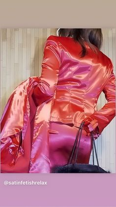 Incredible trouser busting satin outfit - which comes with a matching satin coat! Satin Coat, Pink Satin, Black Satin, Satin Skirt, Satin Dresses, Blouse Dress, Dress Skirt, Skirt Suit, Suit Jacket
