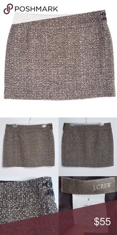 "J.Crew Tweed Mini-Skirt J.Crew Brown Tweed Mini-Skirt with two hip buttons and hidden side zip. Approximate measurements: waist 16"" and length is 15"". Excellent, like new condition! No rips/tears/stains. No trades! J. Crew Skirts Mini"