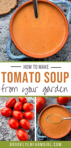 Canning Tomato Soup, Homemade Tomato Basil Soup, Easy Tomato Soup Recipe, Fresh Tomato Soup, Homemade Soup, Cream Of Tomato Soup, Tomato Tomato, Roma Tomato Recipes, Garden Tomato Recipes