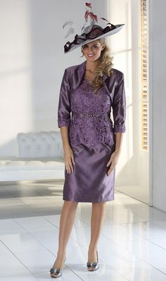 23ea117ad61 Mascara Plum Dress With Lace Bodice With Sparkle Belt Detail and Matching  Jacket We also provide all the matching hats