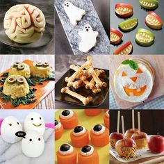 20 Healthy Halloween Snacks (Decorated apple & oranges, Apple bites, Haunted graveyard, Goblin grins, Jack O Lantern Quesadilla, Ghostly eggs, Edible eyeballs, Ghost Toasts, Witches' cauldron with severed fingers, Melon brain and more!  Go to website.....