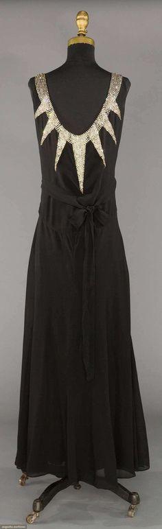 RHINESTONE DECO EVENING DRESS, 1930s  Black silk chiffon w/ wide Deco pattern rhinestone bands, gored skirt (back view)