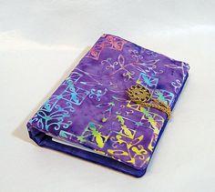 Notepad Holder, Purple, Coupon Organizer, Paper & Pen, Grocery List Organizer, Organizer, Batik by rosemontbags on Etsy