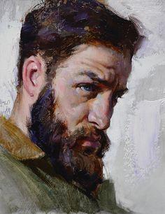 """""""Study of Troy"""" - Albin Veselka (b. 1979), oil {figurative art male head profile bearded man face portrait texture painting #loveart} albinveselka.com"""