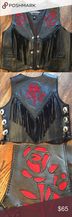 BADASS Vintage Leather Fringe Vest This gorgeous, vintage leather vest is the perfect accessory for all you bad ass biker babes. Features red suede rose details and awesome fringe on the front and back, and interlaced concho shells that tie up the sides. Bonus inside pockets on both sides! A rare and beautiful piece to spice up your wardrobe. Genuine leather and suede. Perfect condition. Jackets & Coats Vests