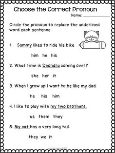 Pronouns worksheets for first and second grade! #pronouns Teaching Pronouns, Pronoun Activities, Nouns And Pronouns, Pronoun Worksheets, English Worksheets For Kids, Coloring Worksheets, Prepositions, Educational Activities, Printable Coloring