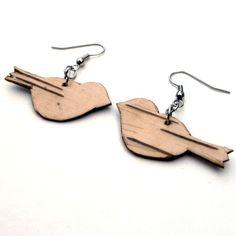 Birch Bark Earrings...love birds                                                                                                                                                                                 More