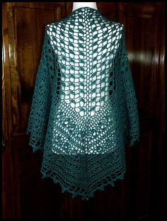 """Isolde"" extra-large ""heart-shaped"" shawl is crocheted in Woodland Sage fingering weight yarn (70% Merino, 30% Silk), 53""W x 32""L (pattern by Wendy Lewis). $120."