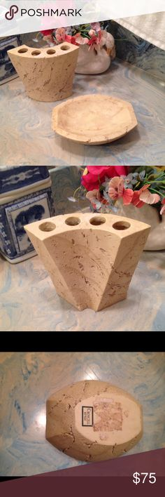 Ancient Rome Croscill Soap and tooth brush holder Croscill Soap and tooth brush holder! They are used in great condition no chips cracks color tan very well-made. Soap dish is a heavy material. They are Made of some kind of pottery. Hand painted! I sell from a non-smoking home pet free. I ship within 24 to 48 hours Monday through Friday. If you have any questions please ask! Croscill Other