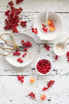 Honey Buttermilk Creams with Red Currants, Blush Cherries & Strawberry Consommé via Two Loves Studio