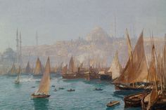 Boats in the port of Constantinople  by Georg Macco (ARC)