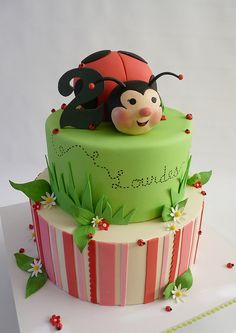 Ladybug Layer Cake - I like this one except I think I'd want to do a monkey on top with a jungle theme 3rd Birthday Cakes, Homemade Birthday Cakes, Fondant Cakes, Cupcake Cakes, Cookie Cakes, Cookies, Gorgeous Cakes, Amazing Cakes, Ladybug Cakes