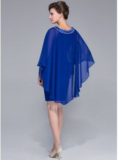 Sheath/Column Scoop Neck Knee-Length Chiffon Charmeuse Mother of the Bride Dress With Beading (008025716) - JJsHouse