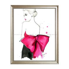 Grafika JESSICA DURRANT Pink Bow - MINT GREY New York Style Interiors