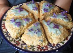 Violet Scones decorated with Violet flowers. These look great but no recipe. Need to find the recipe.