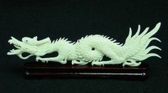Bone Dragon Sculpture Asian Art Carving Statue Home Decor Collectibles