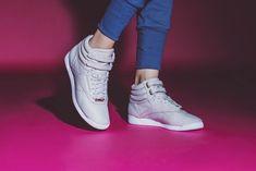 Reebok Classic Freestyle Hi with removable jeweled hardware. Hot Shoes, Wedge Shoes, Swag Style, My Style, Reebok Classic Sneakers, Reebok Freestyle, Japanese Street Fashion, Shoe Closet, Urban Fashion